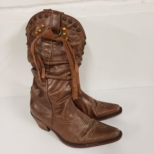 Steve Madden Leather Cowgirl Boots Size 8.5